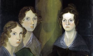 Out of the picture … detail from Branwell Brontë's 1834 portrait of his sisters. He had originally painted himself into the image, research has shown, but effaced it with the image of a pillar.
