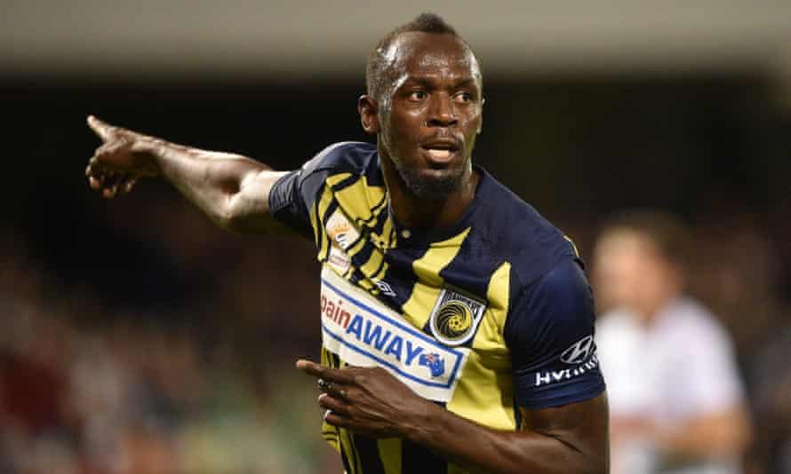 Olympic sprinter Usain Bolt celebrates
