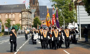 Orange order members marching in North Belfast today.