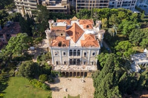 An aerial view of the damaged Sursock Palace. Built in 1860 by Moussa Sursock, it was recognised at the time as one of Beirut's grandest town houses