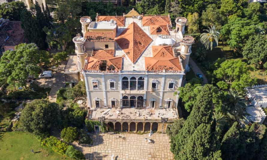 An aerial view of Beirut's Sursock palace, heavily damaged in the explosion in Lebanon last week.