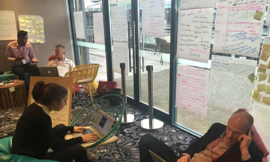 Participants hone their ideas for Hackabout.