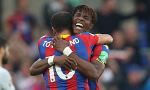 Crystal Palace v Chelsea, London - UK - 14th September 2017<br>Mandatory Credit: Photo by PPAUK/REX/Shutterstock (9136478ah) Wilfried Zaha of Crystal Palace celebration at the full time whistle with Andros Townsend of Crystal Palace after beating Chelsea 2-1 during the Premier League match between Crystal Palace and Chelsea on 14th October 2017 at Selhurst Park Stadium, Croydon, London. Crystal Palace v Chelsea, London - UK - 14th September 2017