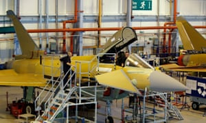 Employees at work on a Eurofighter Typhoon at Warton