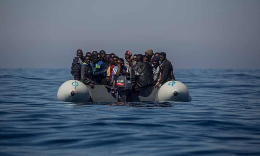 Refugees off the Italian island of Lampedusa.