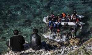 Refugees board dinghy in Turkey