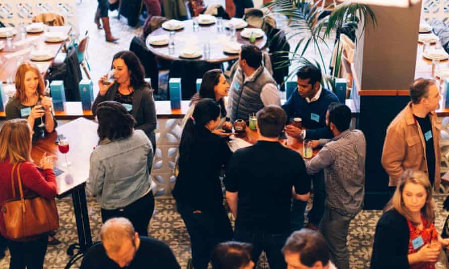 People mingle at a Social Finance Inc event in San Jose, California.