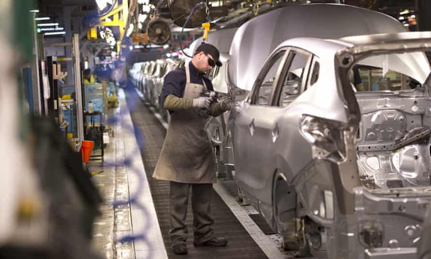 A worker on the 'metal line' at Nissan's body shop in Sunderland.
