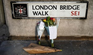 Floral tributes close to London Bridge following Friday night's attack.