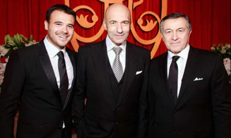 Igor Krutoy, centre, another one of Ilya Bykov's clients, with Emin, left, and Aras Agalarov, at a birthday party for Aras Agalarov in November 2015.