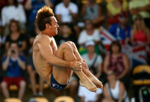 Tom Daley competing in the men's 10m platform.