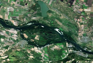 Ships queuing along the Danube river near the Romanian town of Zimnicea