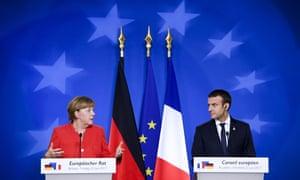 Angela Merkel and Emmanuel Macron at the EU summit, 23 June 2017