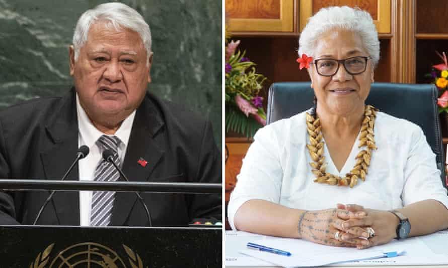 Tuilaepa Sailele Malielegaoi, ex primer ministro de Samoa y actual líder de la oposición, en la foto (izquierda) en 2019, y su sucesora y primera primera ministra de Samoa, Fiami Naomi Matava.