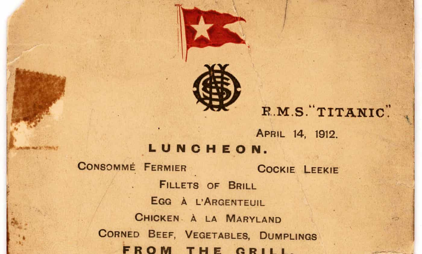 Titanic's last lunch menu expected to fetch up to $70,000 at auction