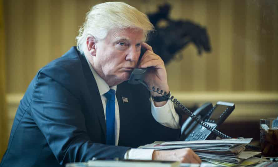 Donald Trump: thank God he's using a landline for once.