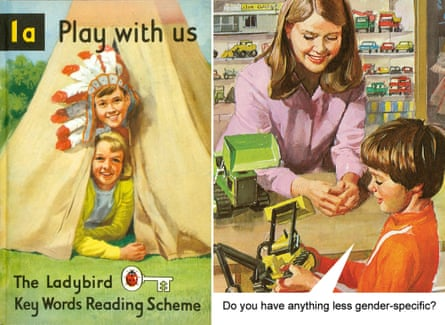 An original Ladybird book cover from Play with us, and a page from its modern-day spoof.