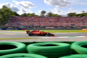 Ferrari's Monegasque driver Charles Leclerc leads.