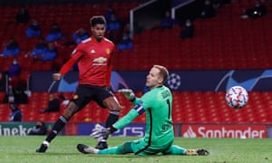 Marcus Rashford scores United's second after racing clear on goal.