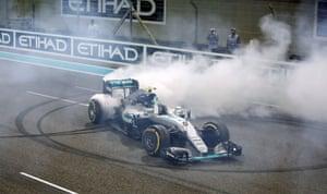 Rosberg celebrates winning the Formula One world championship.