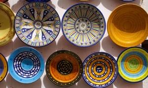Souvenir plates in Marrakech.