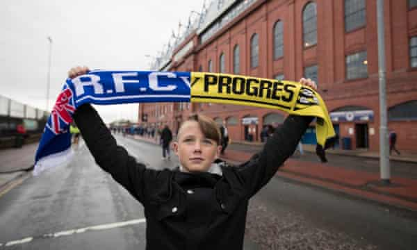 A Rangers fan before the Europa League first qualifying round match against Progrès Niederkorn of Luxembourg at Ibrox in June 2017