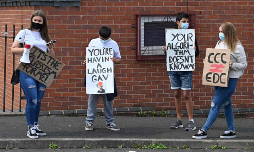 A-level students protesting against the downgrading of exam results, Wolverhampton, August 2020