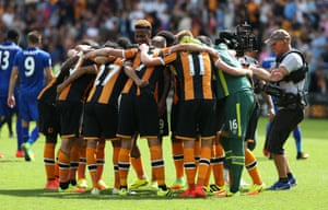 Hull celebrate at the end of the game.