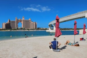 A picture taken on 22 January, 2021 shows Atlantis The Palm hotel from La Mer Beach in Dubai.