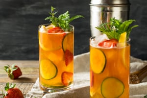Pimm's with fruit and mint