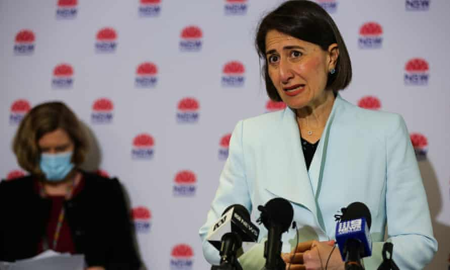 NSW premier Gladys Berejiklian (right) and the chief health officer Kerry Chant address the media during a press conference in Sydney on Monday.