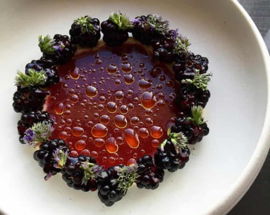 Wild blackberries in a broth of red currants and elderflower.