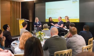 Emma Sheppard, journalist and content coordinator, Guardian Small Business Network; Isabella Lane, co-founder of Smarter Applications; Rich Pleeth, founder of SUP; Emily Forbes, founder of Seenit