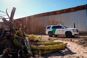 A border patrol vehicle stops nearby an organ pipe plant destroyed by border wall construction in Organ Pipe National Monument.