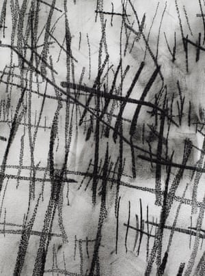 A detail from Numbers, 2019 (a hand sewn photograph) by Idris Khan.