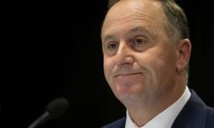 New Zealand prime minister John Key announces his decision to resign.