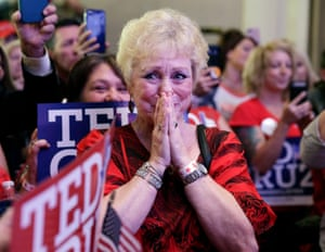 Ted Cruz supporter Marie Rice sheds tears of joy as Cruz declares victory at their election night headquarters