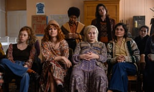 Lily Newmark, Jessie Buckley, Alexa Davies and Ruby Bentall in Misbehaviour.