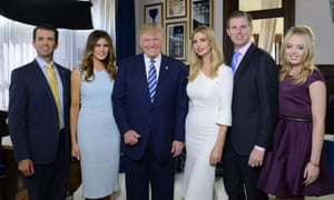 The Trumps (from left to right): Donald Jr, Melania, Donald, Ivanka, Eric, Tiffany.