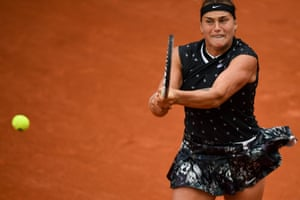 Aryna Sabalenka bashes a backhand return during her victory over Dominika Cibulkova.