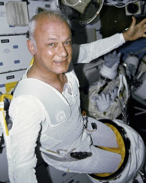 McCandless aboard the space shuttle Discovery on his second trip into space, in 1990.