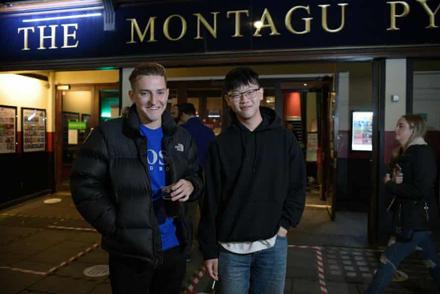 Sam Chamberlain, left and Colin Chen, right outside the Montague Pyke