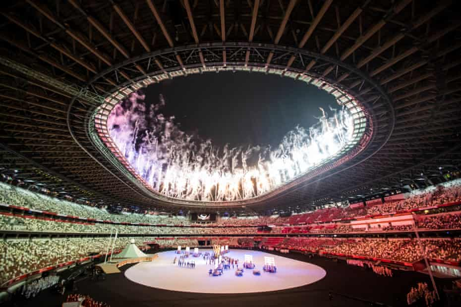 Fireworks during the opening ceremony of the Olympic Games in Tokyo