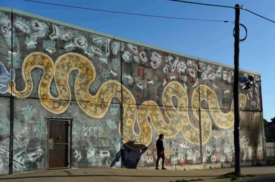 A mural of the Rainbow Serpent in Bourke