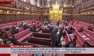 The House of Lords prepares to vote on the motion.