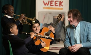 Julian Lloyd Webber with participants of the Birmingham Conservatoire Learning and Participation Programme