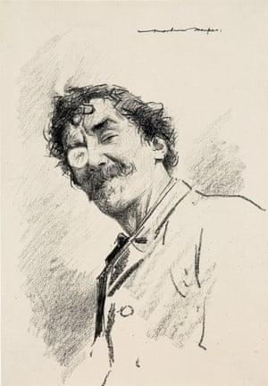 Monocle right eye, portrait of JM Whistler circa 1899 by Mortimer Menpes