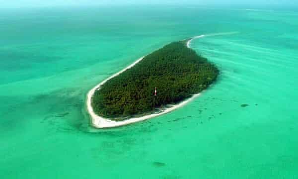 An uninhabited island on the Suheli coral reef
