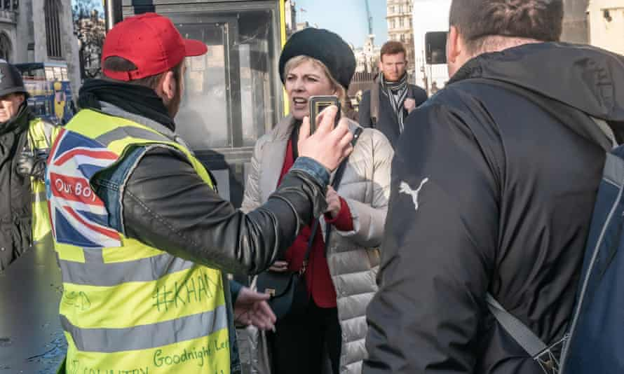 'Yellow vest' protesters confront Anna Soubry outside parliament last week.