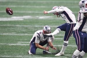 Stephen Gostkowski kicks a field goal to extend the Patriots' lead